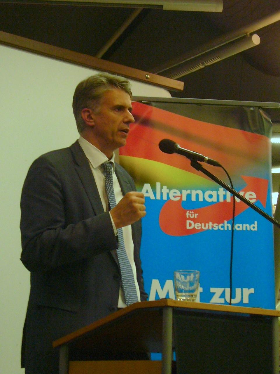 """Dr. Marc Jongen beim Themenabend """"Offene Gesellschaft"""" in Karlsruhe am 3. sept. 2018"""